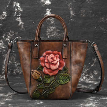 High Quality Genuine Leather Women Messenger Shoulder Bags Floral Tote Embossing Shopping Handbag Real Cowhide Top Handle Bag - DISCOUNT ITEM  30% OFF All Category