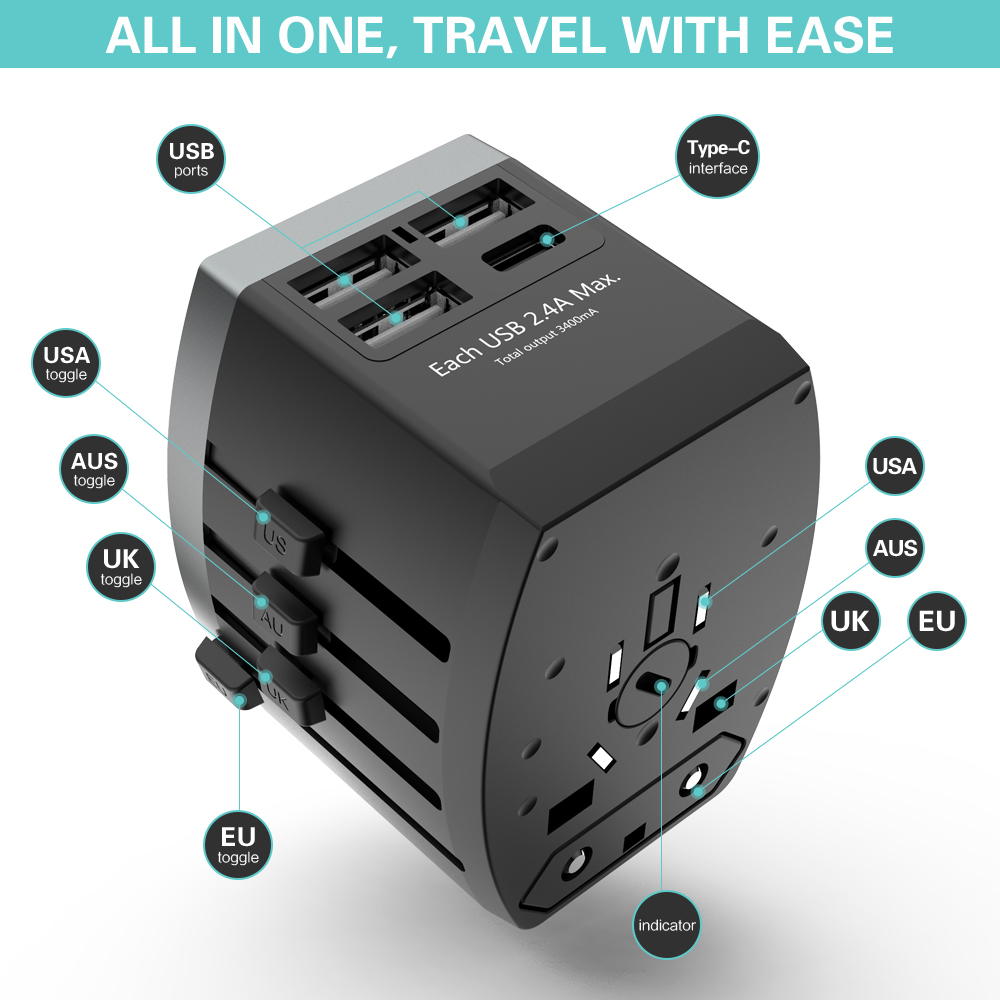 FLOVEME 4 Port USB Charger Adapter 2.4A Type C Multi Universal Adapter Charger For iPhone Samsung Travel Wall USB Phone Charger