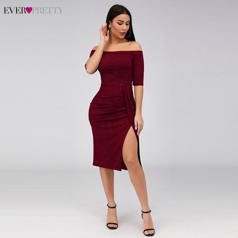 Sexy Burgundy Cocktail Dresses Ever Pretty Off The Shoulder Straight Formal Dresses EZ03048 Sparkle Party Dresses Robe Cocktail