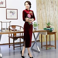 Fashion embroidery plus size Cheongsam wedding party dresses chinese evening dress long women traditional clothing red qipao