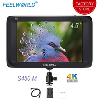 Feelworld S450 M On Camera Field Monitor 4.5 inch 4K Full HD 1280x800 IPS Screen 3G SDI HDMI Camera External Display LCD Monitor