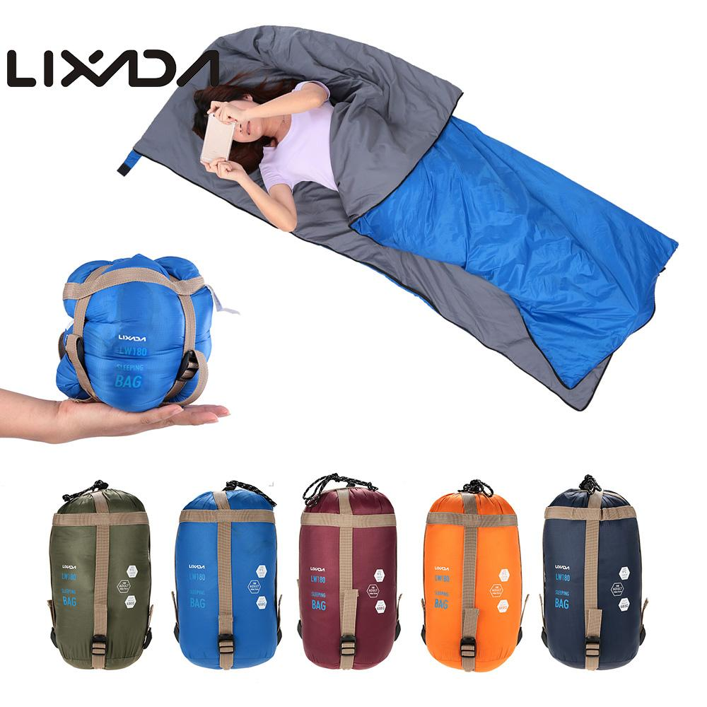LIXADA 190*75 cm enveloppe extérieure sac de couchage Camping voyage randonnée Ultra-léger sac de couchage sac de voyage randonnée LW180 680g