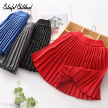 Винтажная плиссированная юбка для маленьких девочек; однотонная шерстяная юбка-американка; теплая школьная юбка для девочек; детские юбки для детей 3-12 лет