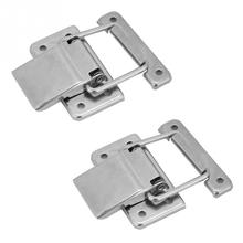 2Pcs Stainless Steel Latch Hasp Lock furniture hardware for Cabinet Case Spring Loaded Latch Catch Toggle hasp wooden box lock