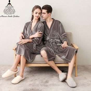 Men Women's Sleep Lounge Robes Gold Velvet  Autumn Nightgrowns Couple Robe Bathrobe Male Female Dressing Gown Lounge Homewear