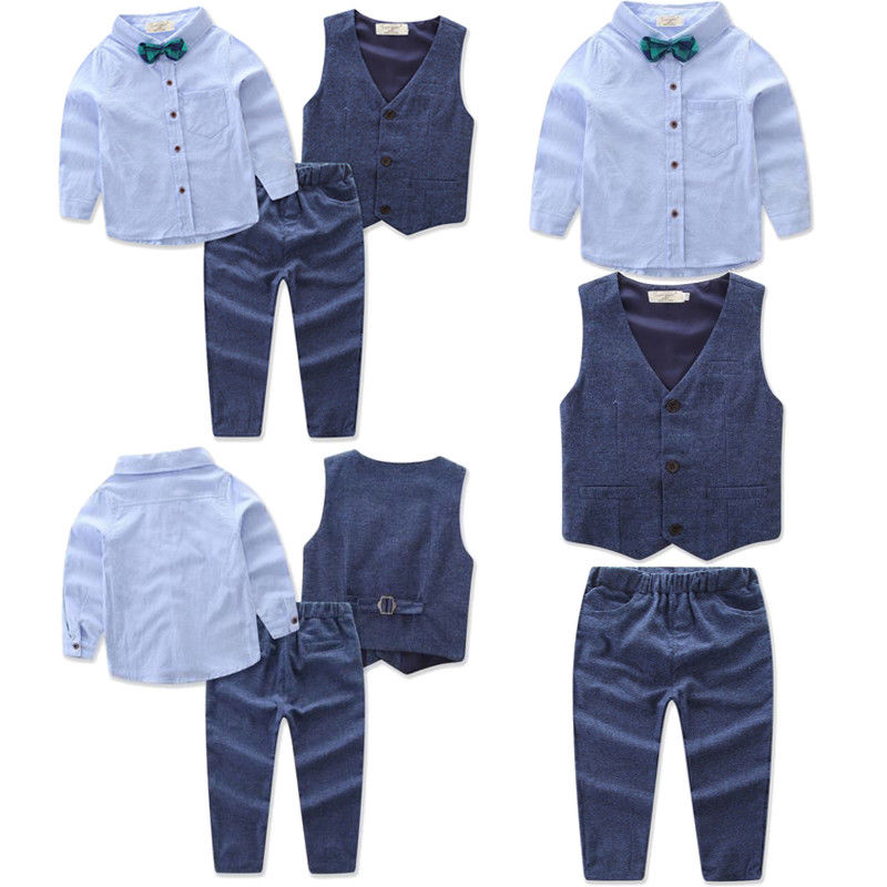 US Toddler Kid Boy Tops Shirt Waistcoat Tie Pants Formal Suit Outfit Clothes Set