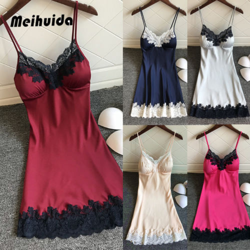 Hot Women Sexy  Silk Robe Dress Lace Up Babydoll Nightgown Sexy Sleepwear Nightdresses