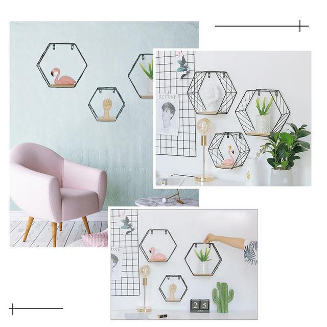 Iron Hexagonal Grid Wall Shelf Combination Wall Hanging Geometric Figure Wall Decoration For Living Room Bedroom 2