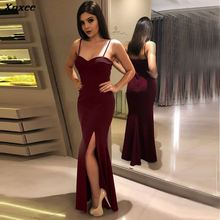 Xnxee New Sexy Solid Red Sheath Sleeveless Split Dress Summer Women Dresses 2019 Vestidos Fashion Party Vestido