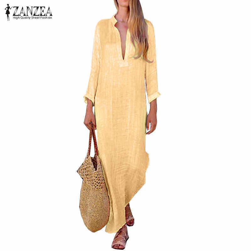 02cc260c4d ZANZEA Vintage Linen Dress Women Plain Maxi Dress Sexy V Neck Long Sleeve  Baggy Vestido Robe
