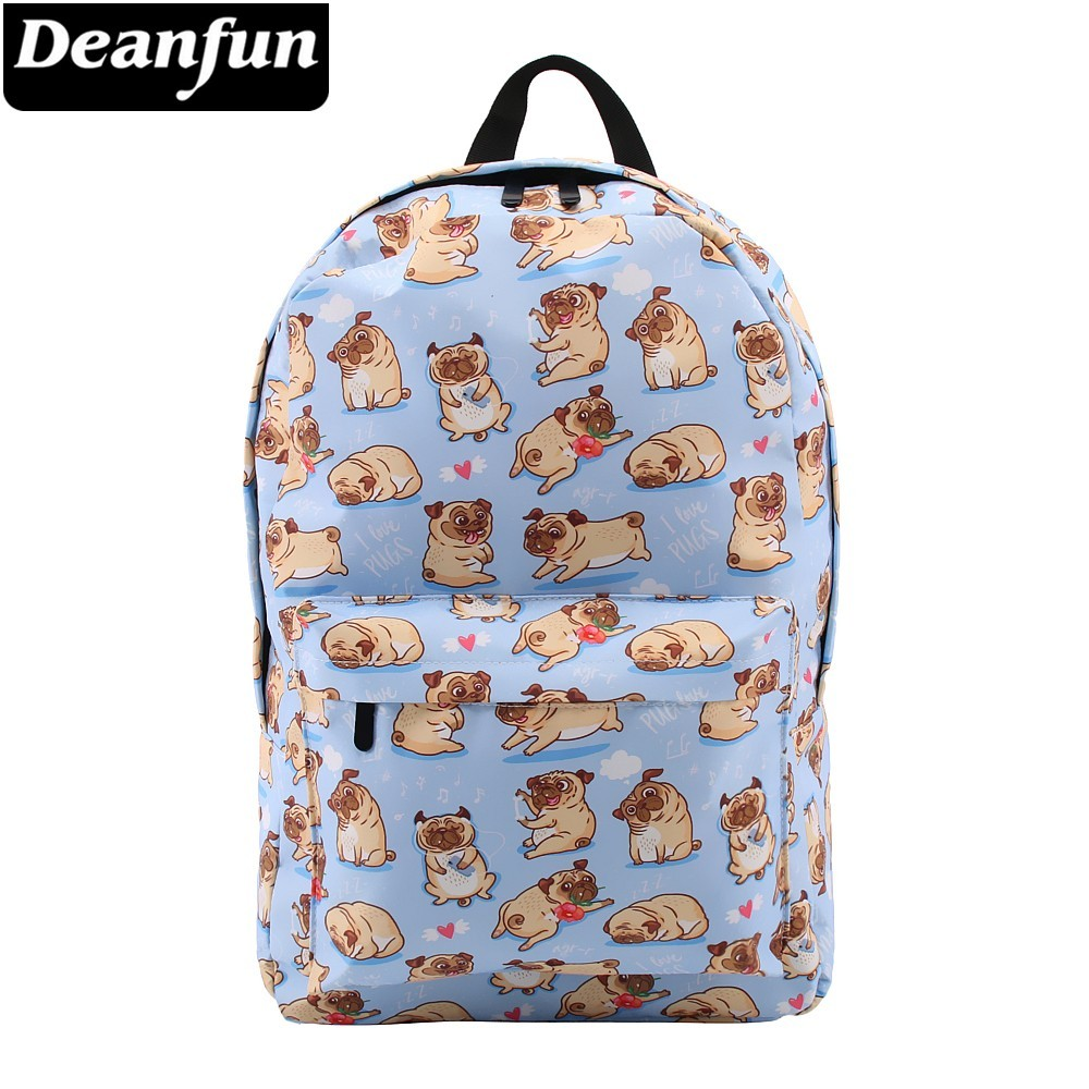 Deanfun Backpack For Girls Cute Pug Flower Water Resistant Heart Blue Backpacks Teenage School Bag Gift  80047