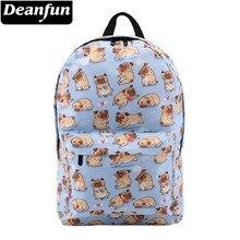 Mochila Deanfun para niñas, bonita Pug Flower resistente al agua, mochilas azules con corazón, mochila escolar para adolescentes, regalo 80047