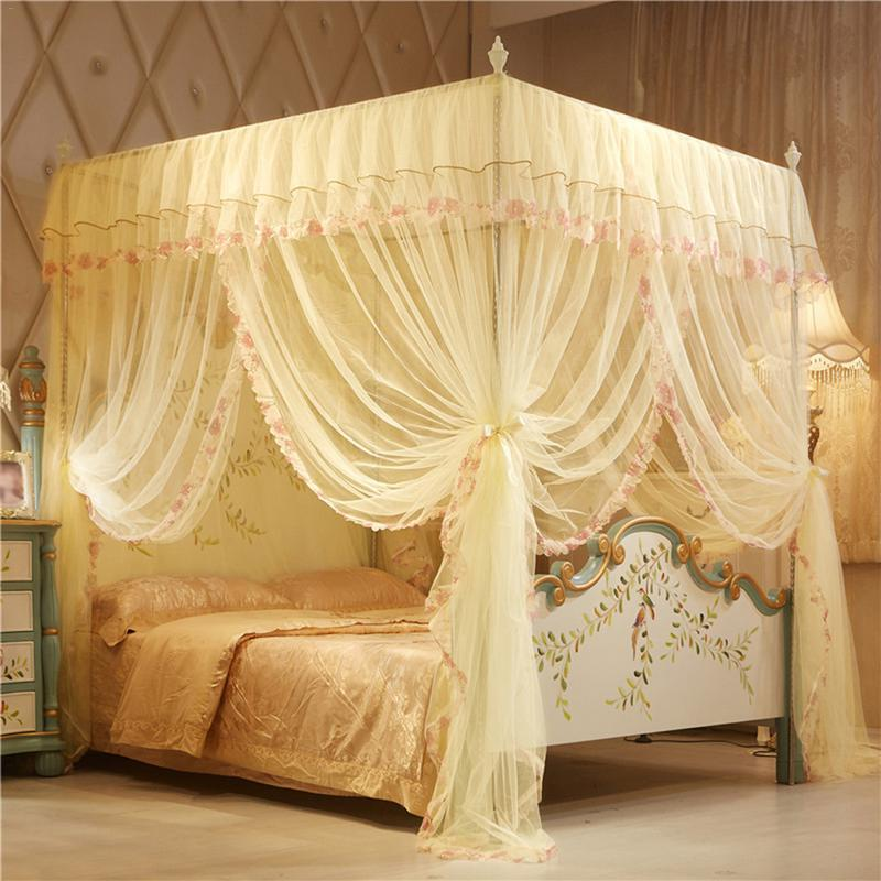 4 Posters Corners Bed Canopy Princess Queen <font><b>150*200</b></font> mm Mosquito Bedding Net Bed Tent Floor-Length Curtain #5O image