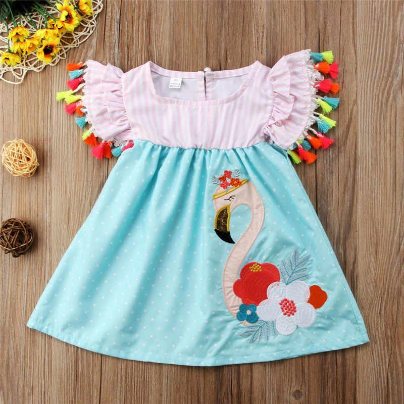Летнее Повседневное платье с фламинго для маленьких девочек одежда для сарафана Одежда для новорожденных девочек возрастом от 1 года до 6 лет хлопковая одежда с круглым вырезом