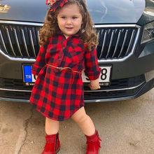 Newborn Toddler Baby Girls Princess Party Dress+ Belt Outfits Red Plaid Shirt Dress Baby Girl New Style Shirt Dress недорого