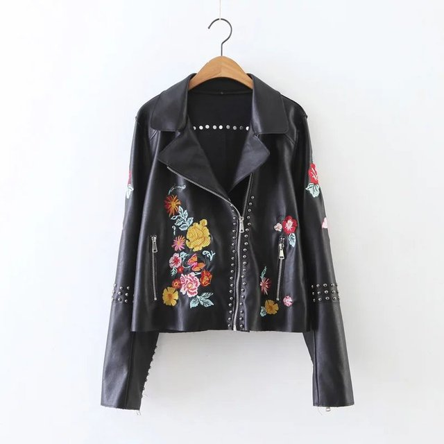 Wipalo New Black Rivet Pu Leather Jacket Women Floral Embroidered