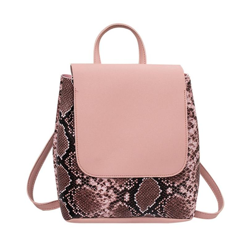 Snakeskin PU Leather Backpacks For High School Girls Female Travel School Bagpacks Animal Print Mochila Feminina
