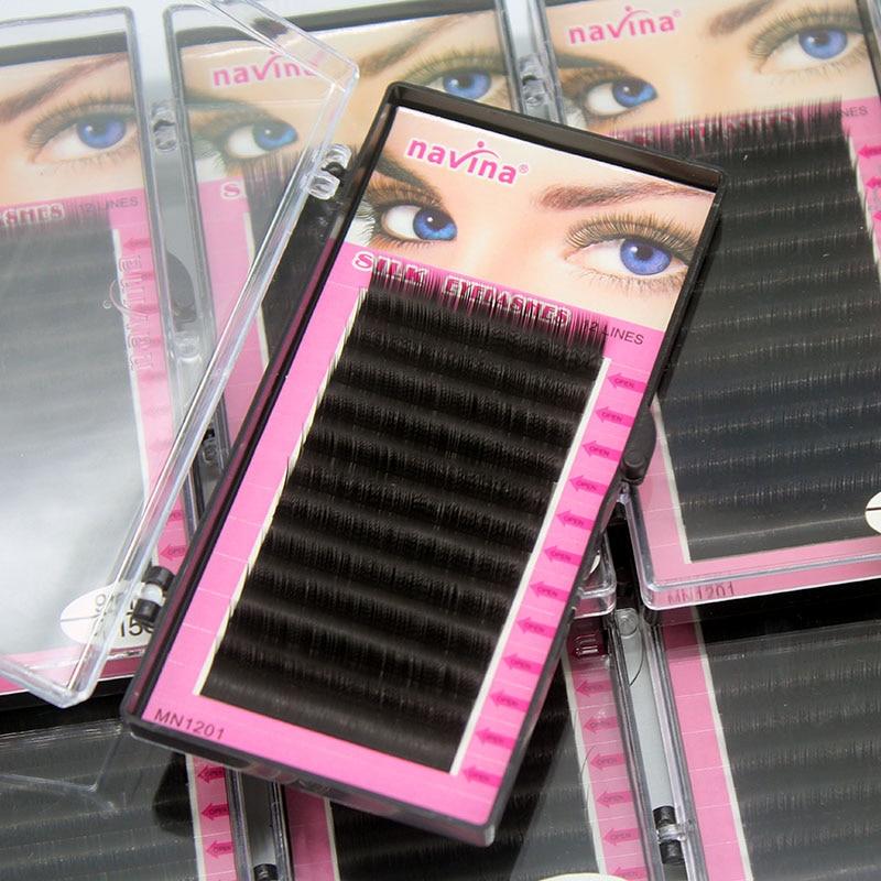 Navina 1pcs Natural Soft Mink Eyelash Extension 3D Volume Individual Grafting Eyelashes Makeup False Lashes Fake Cilias C/D Curl