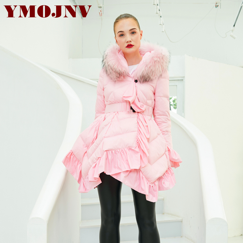 YMOJNV Real Fur Collar Hooded Ruffle Snow Wear 2019 Women Winter   Coat   Irregular Length Ultralight   Down   Jacket Woman Outwear