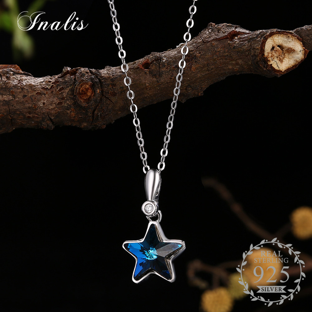 2018 Crystals From Swarovski Blue Star Crystal Pendant Necklace For Women Fine Jewelry Wedding Part Accessories
