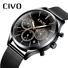 CIVO Luxury Watches For Men Fashion Waterproof Chronograph Date Black Steel Mesh Sports Quartz Wristwatch Gents