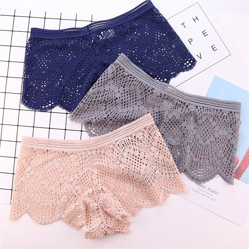 Women's Triangle   Panties   Women's Sexy Lace Fabric Cutout Mid-rise Cotton-padded Small Boxer   Panties
