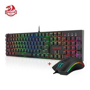 Игровая Проводная Механическая клавиатура Redragon, игровая мышь с коброй M711, 10000DPI, 7 программируемых кнопок, RGB светодиодный экран для CS