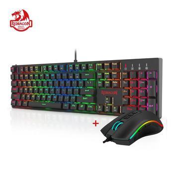 цена Redragon K582-BA Combo Wired Mechanical Gaming Keyboard & M711 Cobra Gaming Mouse 10000DPI  7 Programable Buttons RGB LED for CS онлайн в 2017 году