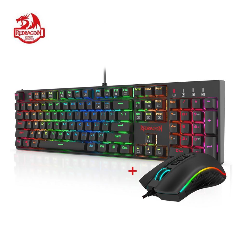 Redragon K582-BA Combo clavier de jeu mécanique filaire & M711 Cobra souris de jeu 10000 DPI 7 boutons programmables RGB LED pour CS