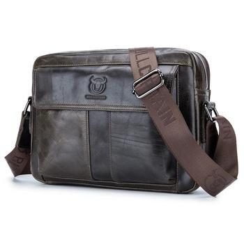 e8da12dce337 FGGS BULLCAPTAIN Мужская сумка из натуральной кожи Повседневная Деловая мужская  сумка через плечо воловья кожа Большая емкость дорожная сумка