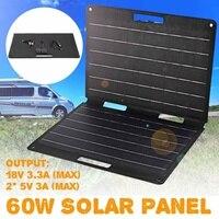 Солнечная панель 60 Вт портативная солнечная панель набор для складывания 12 В зарядное устройство 2 USB Солнечная система DIY для аккумулятора