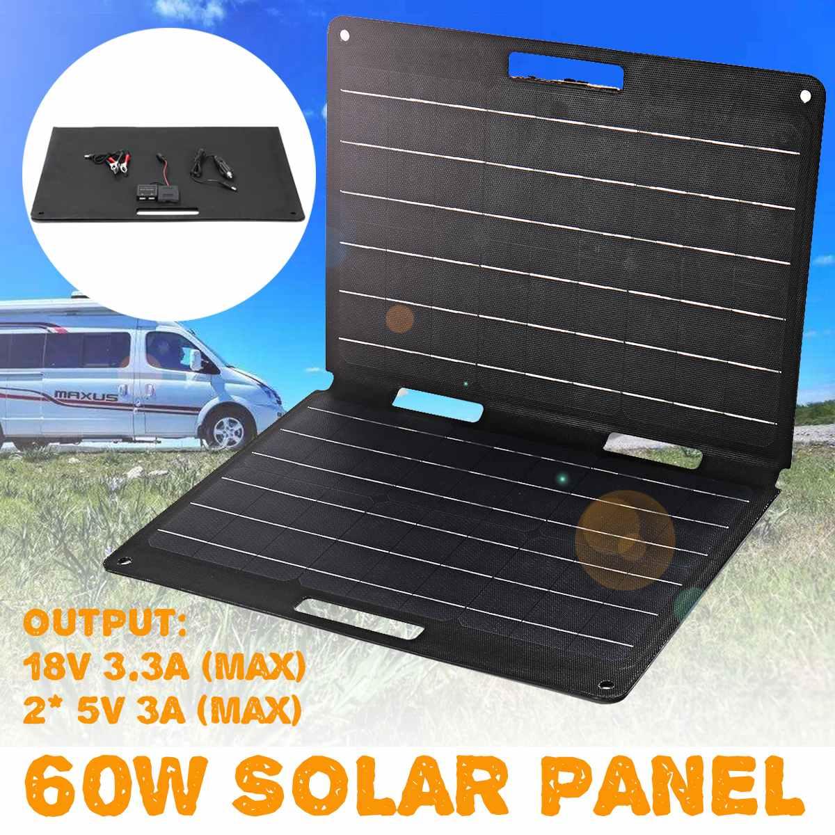 Panneau solaire 60 W panneau solaire portable kit pliable 12 V chargeur de batterie 2 USB Système Solaire bricolage Pour Batterie pour la voiture Bateau Camping