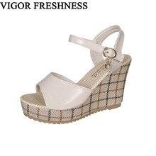 6cfe20347 VIGOR FRESCURA Sandálias Mulher Cunhas Sapatos Sandálias Plataforma Moda  Feminina Sapatos 10 CM Saltos Sapatas do