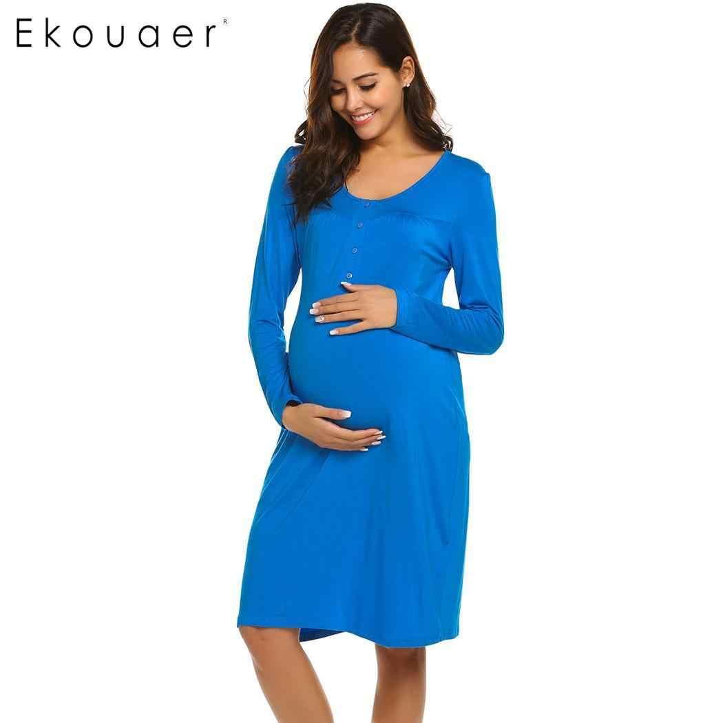 48145a1218add ... Ekouaer Nightgown Sleepwear Long Sleeve Night Dress Women Solid Breastfeeding  Nightdress Maternity Nursing Dress Nightwear ...