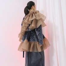 [EAM] 2019 New Spring Ruffles Mesh Stitch Loose Large Size Velour Cotton-padded Coat  Women Jacket  Fashion Tide JI588