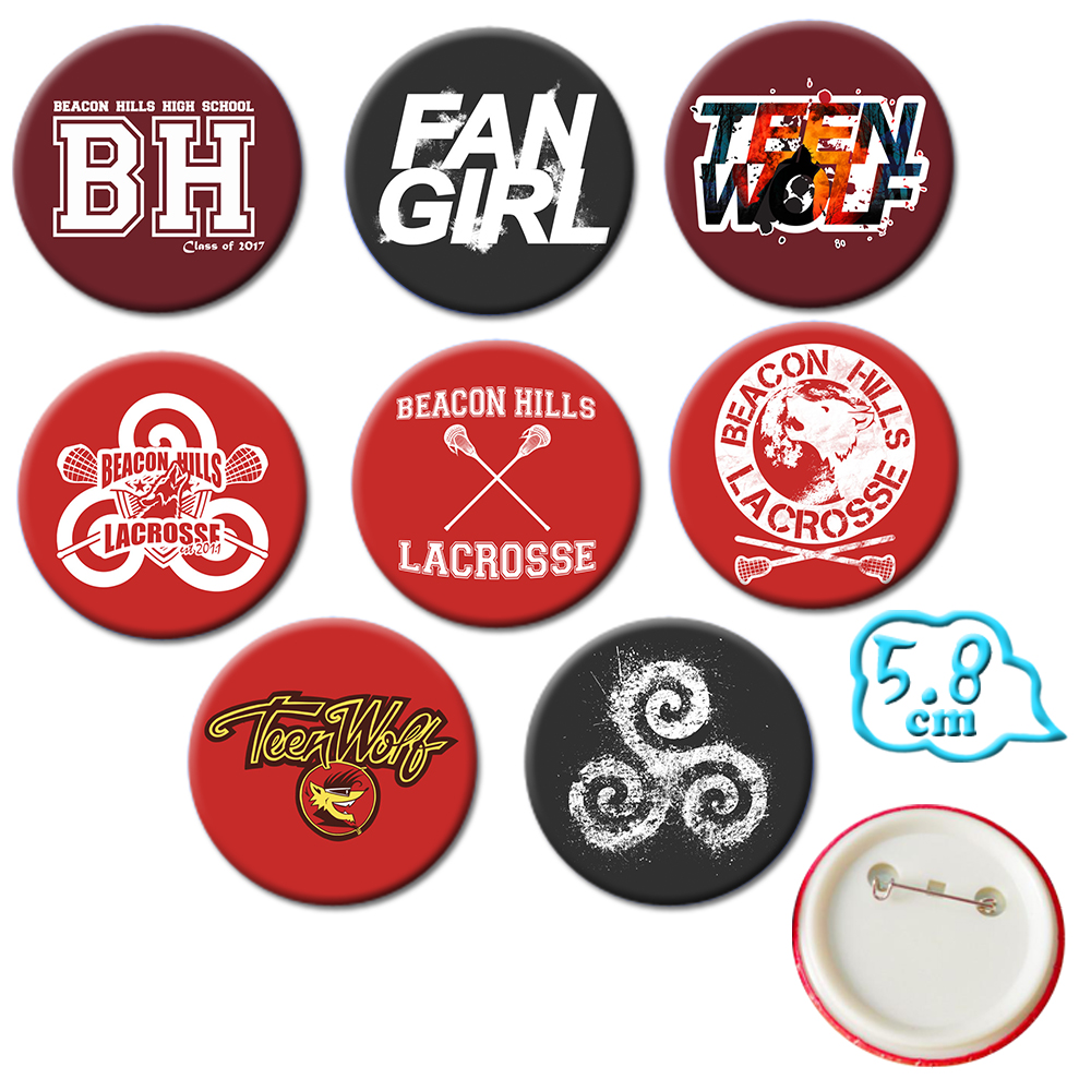 Giancomics Set of 8 Hot Teen Wolf Movie Pins PVC Button Cute CartoonBadges Brooch Chestpin Costume Backpack Ornament Accessory