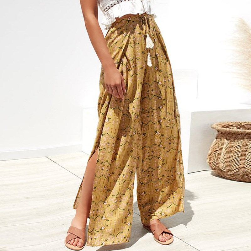Summer Spring Floral Wide Leg   Pants   Split Loose   Pants     Capris   Lace Up Beach   Pants   Trouser Bottom