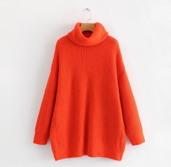 Winter Women Orange Color Turtleneck Knit Sweater Batwing Sleeves Oversize Knit Pullovers