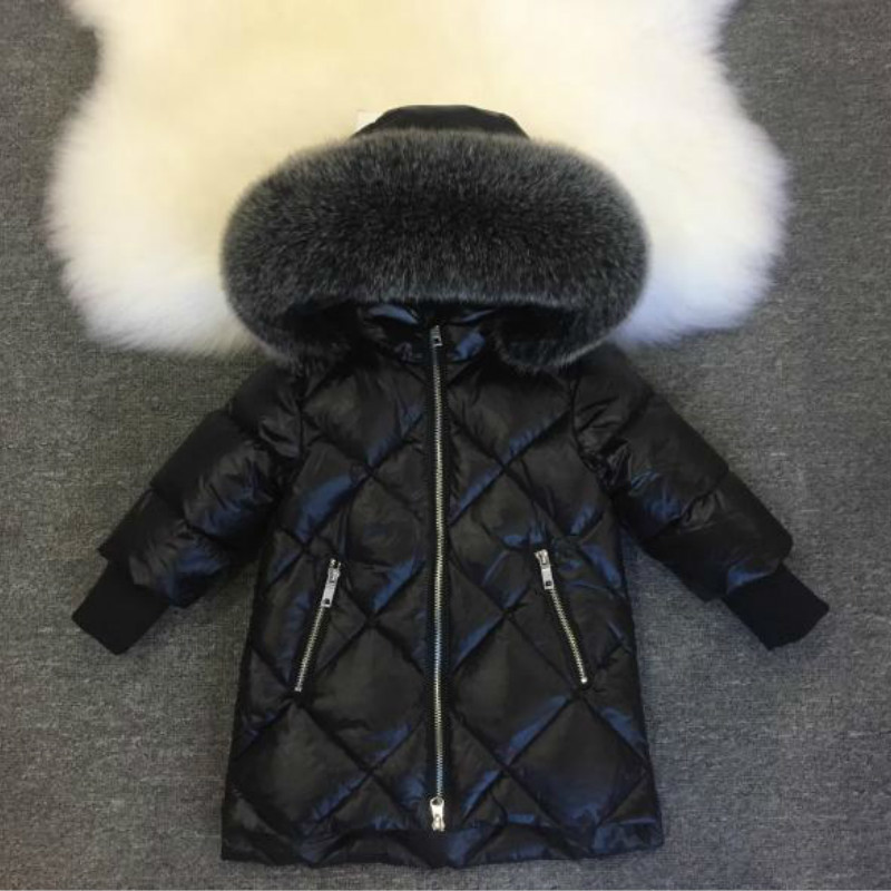 все цены на Kids Down Jacket Winter Girls 90% White Duck Down Thick Warm Big Fur Hoodies Coat Baby Children Diamond Long Style -30 Outwear