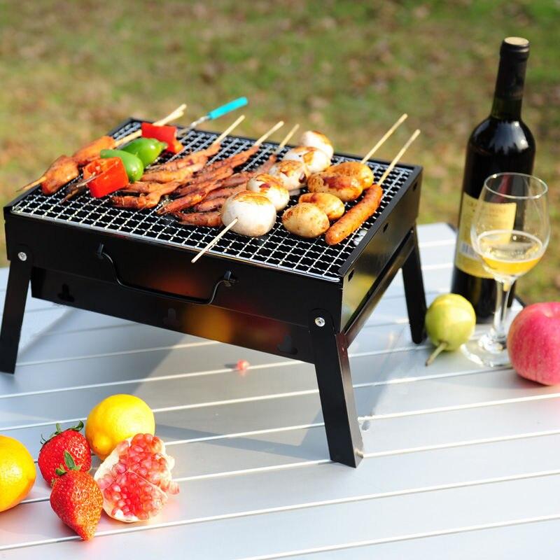 Barbecue Barbecue grilles brûleur four extérieur jardin charbon de bois Barbecue Patio fête cuisson pliable pique-nique pour 3-5 personnes