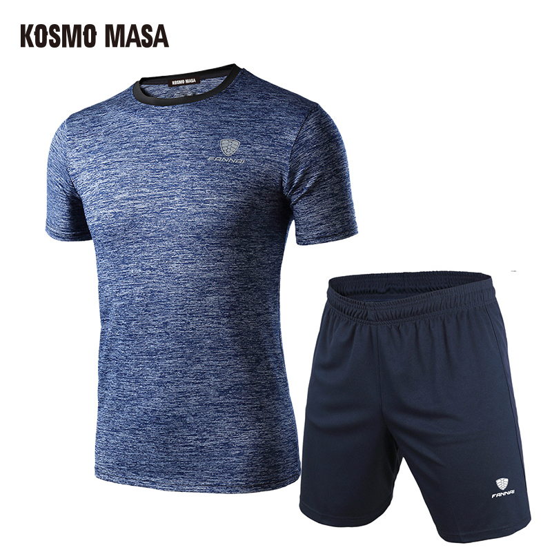 KOSMO MASA Summer 2019 Casual Tracksuit Men Sport Suit Running Men Set T Shirt Shorts Quick Dry Breathable Men 2 Piece Set MS012
