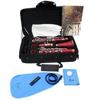 Clarinet ABS 17 Key bB Flat Soprano Binocular Clarinet with Cork Grease Cleaning Cloth Gloves 10 Reeds Screwdriver Reed Case
