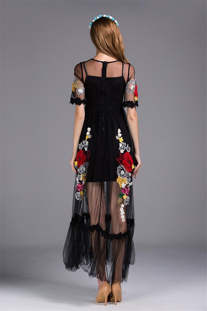 2019 printemps fleur de luxe Appliques femmes noir grande balançoire robe femmes piste voir à travers maille femme fête Maxi robes vêtements - 3