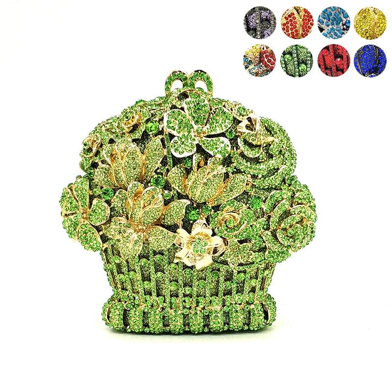 숙 녀 신부 웨딩 파티 지갑 우아한 지갑 여성 저녁 파티 핸드백 지갑 럭셔리 다이아몬드 꽃 크리스탈 클러치-에서탑 핸드백부터 수화물 & 가방 의  그룹 1