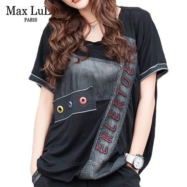 Max LuLu Fashion Korean Designer Crop Tops Tee Shirts Womens Summer Denim T-shirt Casual Kawaii Female Vintage Tshirt Streetwear