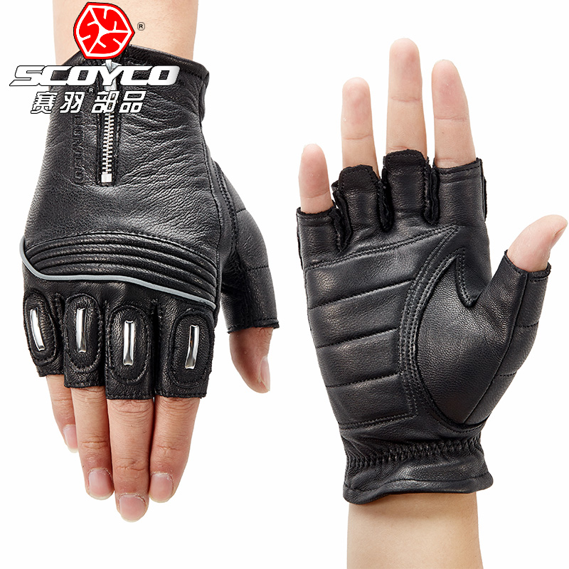 2018 Summer New SCOYCO Half Finger Motorcycle Racing Gloves MC25 goat skin Motorbike Riding Glove with Reflective strip Non slip
