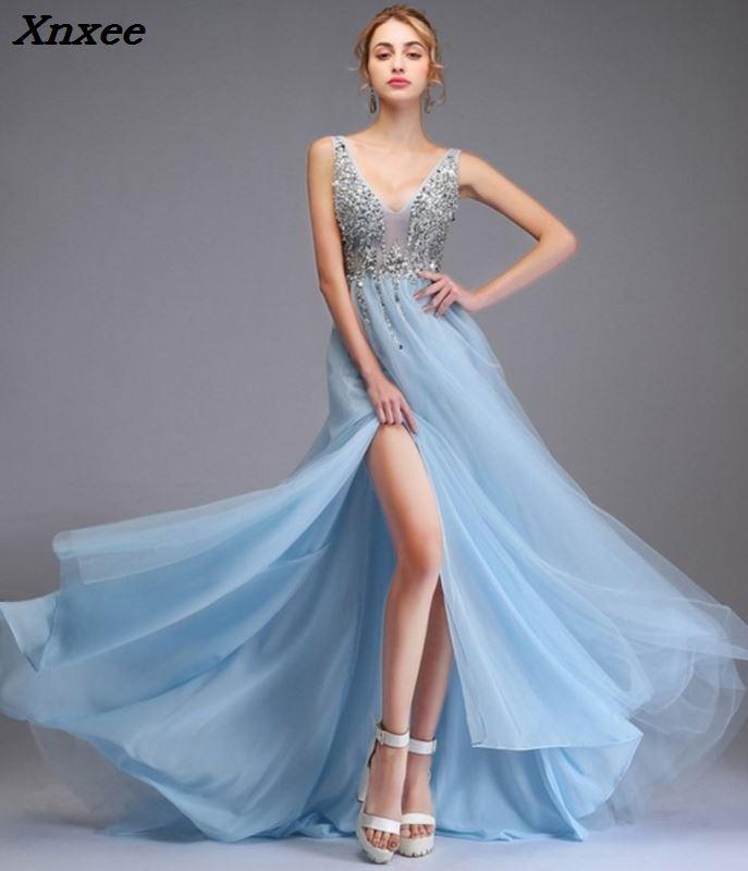 Модные сексуальные платья с глубоким v образным вырезом и разрезом по бокам, без рукавов с открытой спиной, Тюлевое вечернее длинное платье