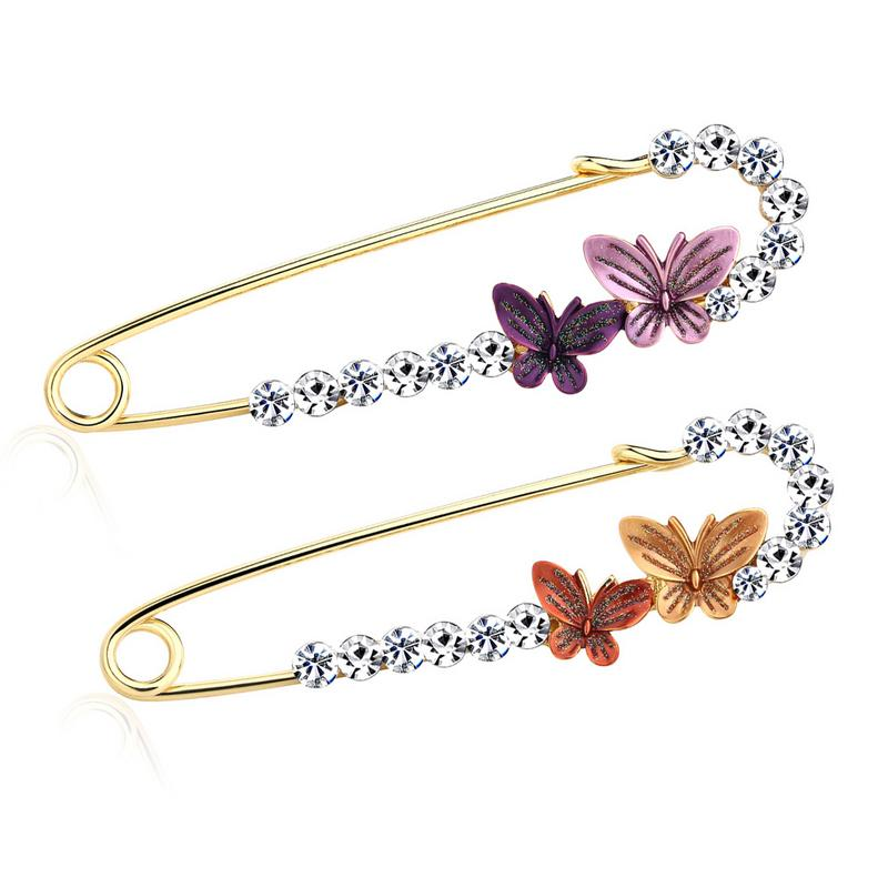 Women Fashion Butterfly Brooch Curved Brooch Metal Rhinestone Brooch Birthday Gift Brooches Hot Sale Support Wholesale