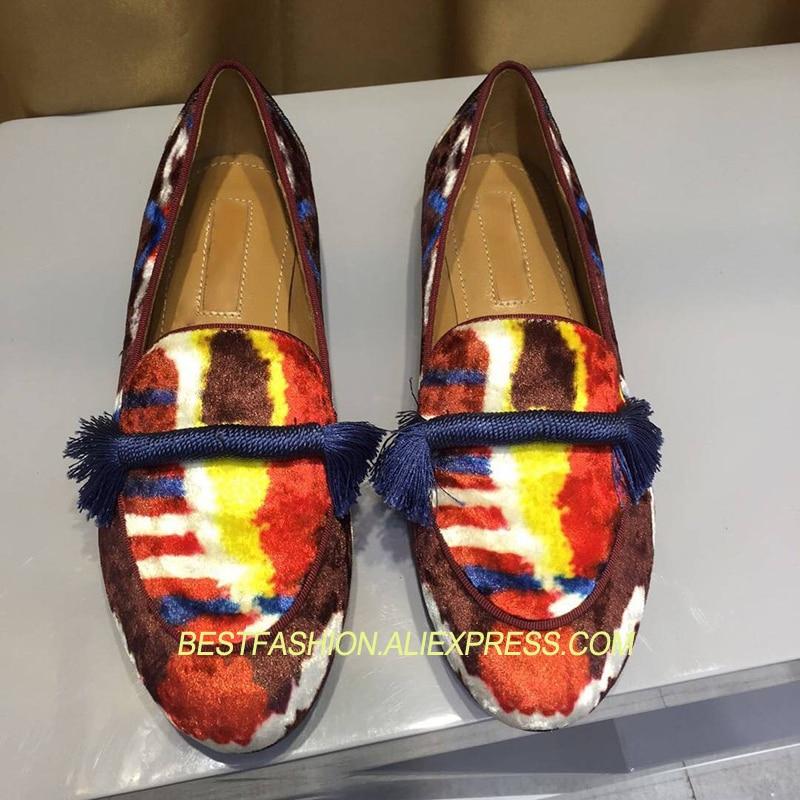 Profonde Chaussures Imprimé Chaude Mujer Appartements Bout Mocassins Décontracté Beige Paresseux Design Peu Gland Mocassin Velours Dame De Fringe Rond Prwqw1E4