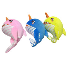 2019 Cartoon Music Narwhals Stuffed Baby Plush Shark Toy Family Party Dolls Birthday New Year Gift for Kids 3 Colors Top Quality(China)